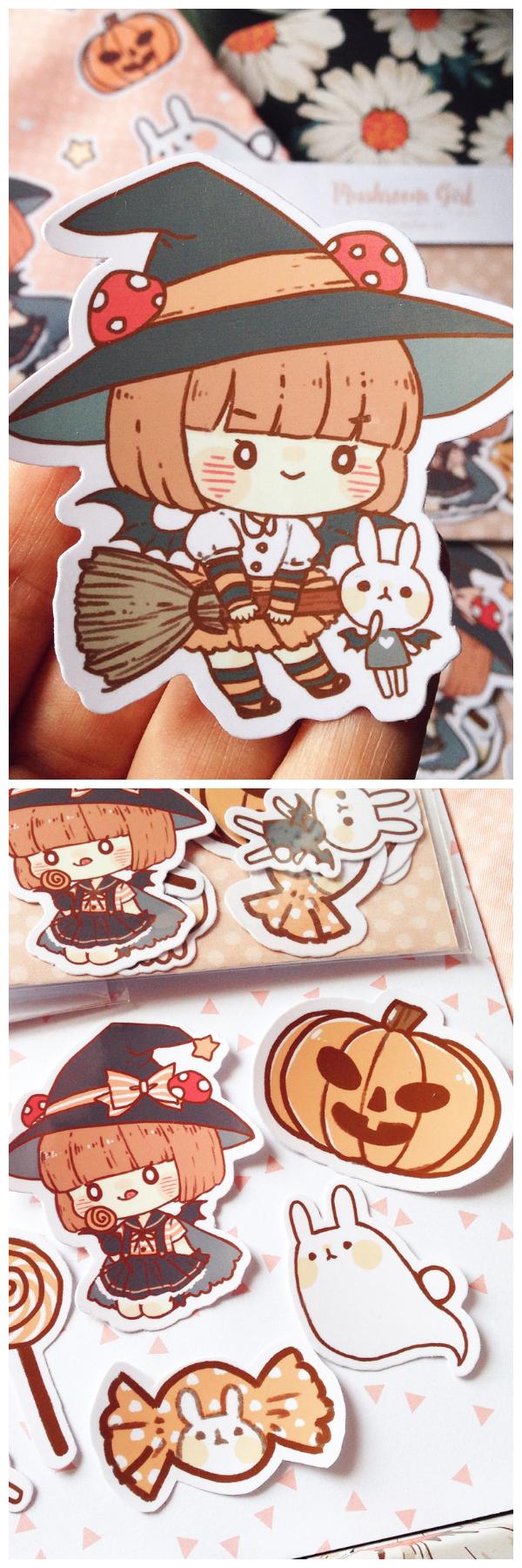 Halloween Stickers Aesthetic.Cute Halloween Stickers And Enamel Pins Sakura Fairies