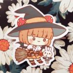 Mushroom Girl Witch Sticker CherryRabitt - Cute and Cool Halloween Stickers and Enamel Pins Kawaii Edit