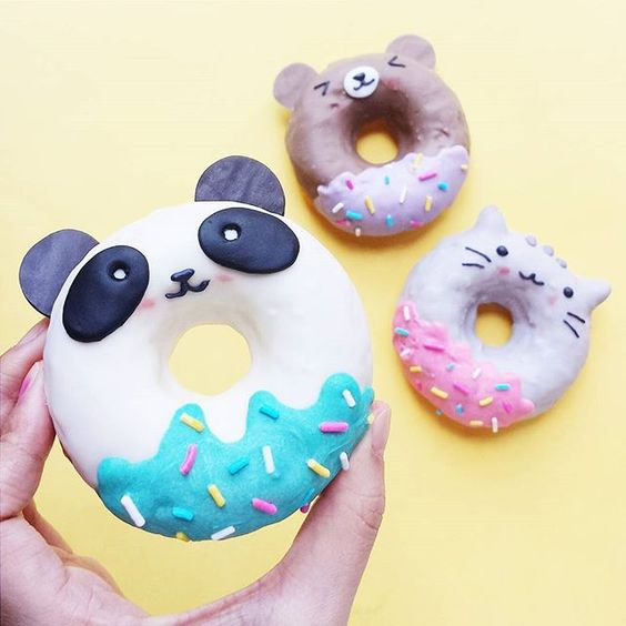 Cute panda and cat donuts with sprinkles by Vickie Liu via Instagram