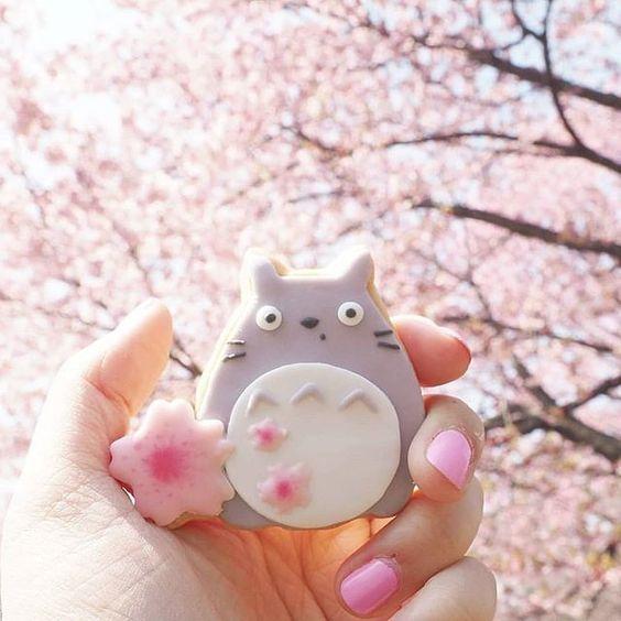 Kawaii Totoro cookie under Sakura (cherry blossom) tree by Vickie Liu via Instagram