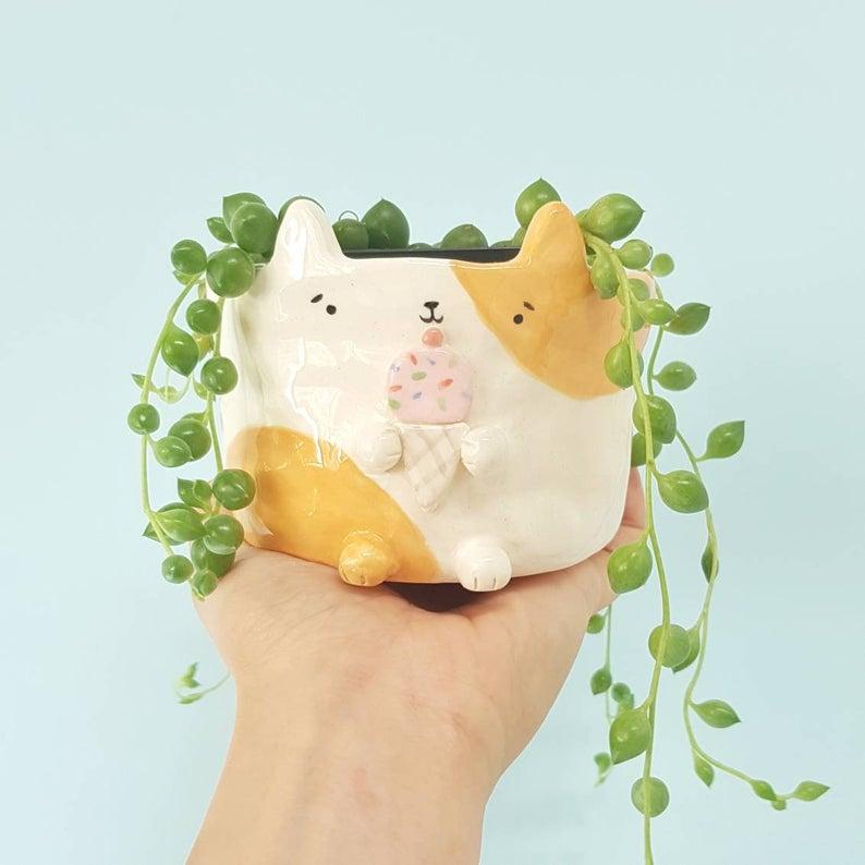 Kawaii Ice Cream Cat Ceramic Planter. Photo via Vickie Liu, Hungry Kids Club, Etsy