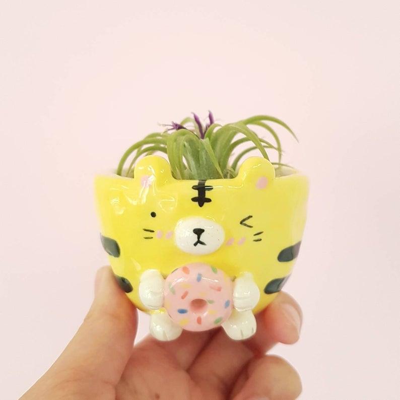 Mini Donut Tiger Ceramic Air Planter. Photo via Vickie Liu, Hungry Kids Club, Etsy