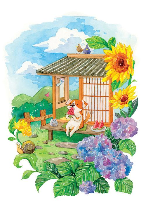 Summer Flower Garden - Cute dog eating watermelon to cool down in the summer heat, photo by PenelopeLovePrints via Etsy