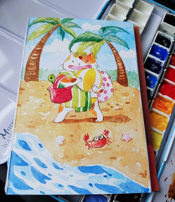 Going To The Seaside - Cat happy on the beach,  PenelopeLovePrints via Instagram