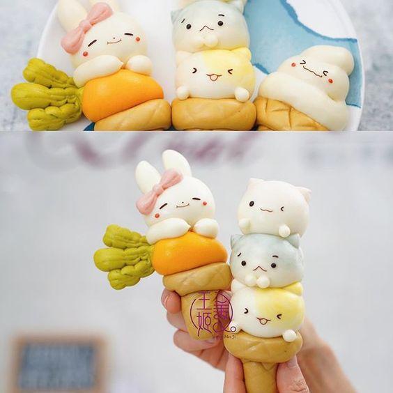 Cute ice cream steamed buns by WangMeijiQoEat via Instagram