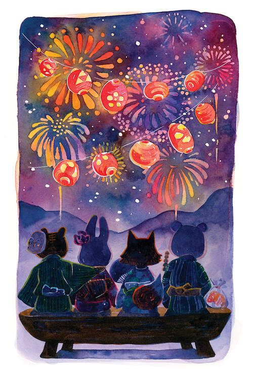 Summer Matsuri (Festival) - Watching Hanabi (Fireworks) with friends,  PenelopeLovePrints via Instagram