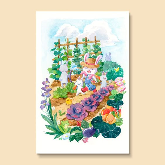Summer Harvest - Lovely bunnies watering their vegetable garden, PenelopeLovePrints via Etsy