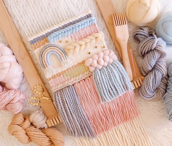 Pastel color palette weaving on loom from @smileandwave photo by @whiskerwoven via Instagram