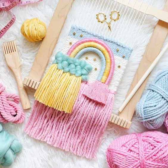 Rope rainbow with fluffy wool cloud by @whiskerwoven via Instagram