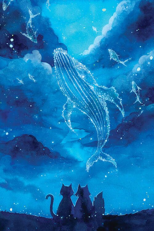Kitties Stargazing at Humpback Whale Galaxy - Kitties gazing at the constellations and humpback galaxy in the summer nightsky, PenelopeLovePrints via Etsy