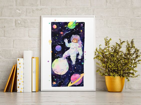 Bearstronaut - The Bearstronaut, framed watercolor art print, PenelopeLovePrints via Etsy