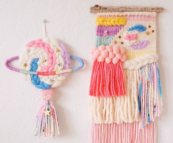 Fun, bright colors wall hangings by whiskerwoven via Instagram