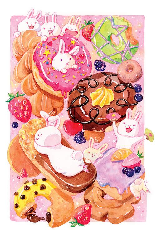 Bunny Donuts - Bunnies playing with yummy glazed donuts,  PenelopeLovePrints via Etsy