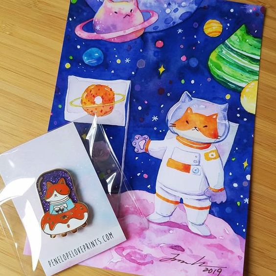 Catstronaut, the January pin and art print rewards for Jackie He's patreons,   via Penelopeloveprints.com