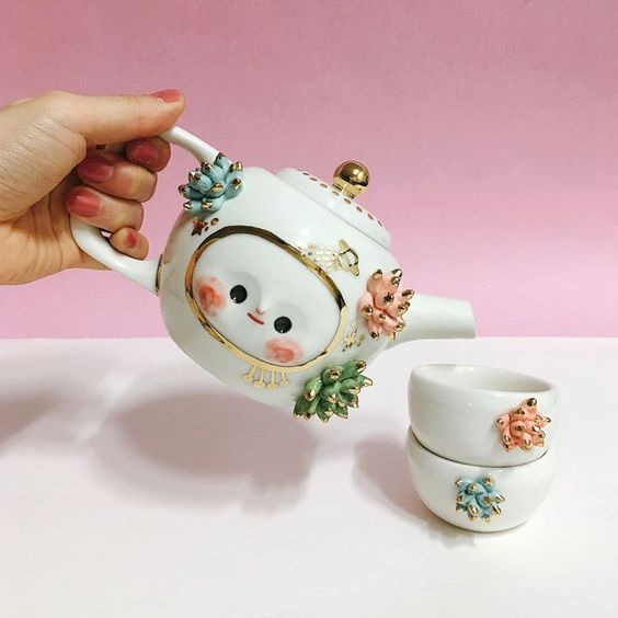 The Angel Of Succulents a tea set with a warm green heart,  by Myostery via Etsy